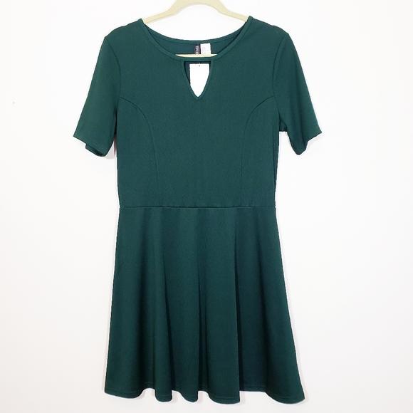 H&M Forest Green Fit & Flare Skater Dress